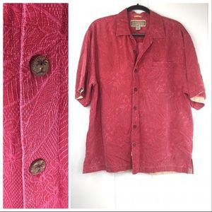 100% Silk M Tropical Floral Wood Button Up Shirt